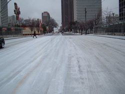 Atlanta street during ice storm.