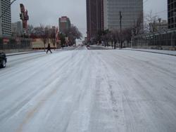 Atlanta street during ice storm.
