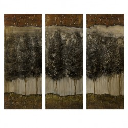 CKI Moody Forrest Oil on Canvas - Set of 3