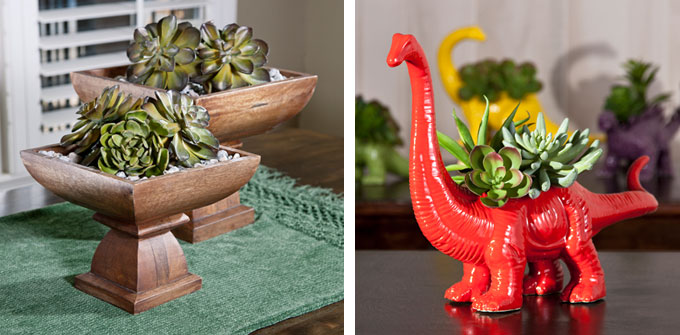 Above left: Julian wood pedestal bowls (73340-2); Above right: Red Dinosaur planter (11744).