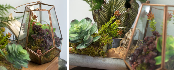 Above: The Laila large terrarium is a beautiful container for succulents (60334), and the Lorren galvanized organizer (65456) creates a textural accent to the plants' thick waxy leaves and other natural elements.