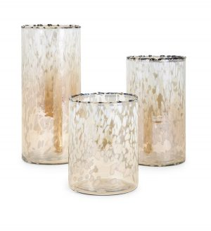 13841-3 TY Luxe Glass Hurricanes - Set of 3