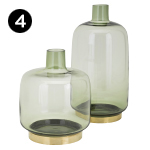 40916-40917 Sage Glass and Metal Vases