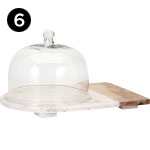 82506 Lyna Marble and Wood Cheese Dome