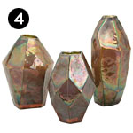 40903, 40904, 40905 Geode Glass Vases